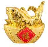 Feng shui ornament of a golden carp Stock Images