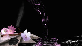 Feng Shui picture with incense sticks. Feng Shui picture with incense sticks, pink flowers, rose quartz, pebbles and water. 3d illustration vector illustration