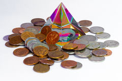 Feng Shui pyramid and coins Royalty Free Stock Photo