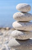 Feng shui stones. Round stones for meditation laying on seacoast Stock Photo