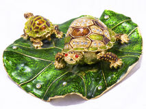 Feng Shui Turtles On White Background Stock Photo