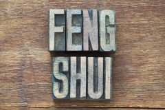 Feng shui wood. Feng shui phrase made from wooden letterpress type on grunge wood royalty free stock image