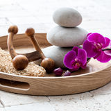Feng shui and zen stability for body massage after bath Royalty Free Stock Photos