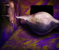 Feng Sooey. Surreal digital painting of a pig making a mess of a very unusual painted room Royalty Free Stock Photography