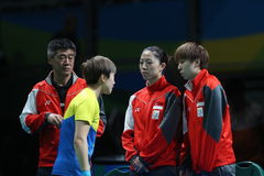 Feng Tianwey playing table tennis at the Olympic Games in Rio 2016. Stock Images