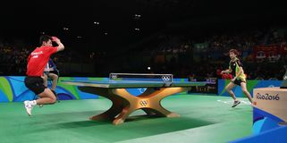 Feng Tianwey playing table tennis at the Olympic Games in Rio 2016. Zhang Jike from China silver medal in table tennis  at the Olympic Games in Rio 2016 Royalty Free Stock Image