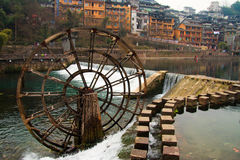 Fenghuang ancient town,china. Fenghuang (Phoenix in English), small touristic town in Hunan province in China. Picturesque old buildings reflection in water Royalty Free Stock Image
