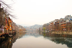 Fenghuang ancient town,china. Fenghuang (Phoenix in English), small touristic town in Hunan province in China. Picturesque old buildings reflection in water Royalty Free Stock Photography