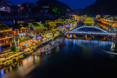 Fenghuang Ancient Town In Twilight Time,famous Tourist Attraction In Hunan Province China. Royalty Free Stock Images