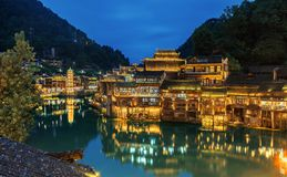 Fenghuang ancient town by night. Fenghuang County simplified Chinese: 凤凰县; traditional Chinese: 鳳凰縣; pinyin: Fènghuáng Xi royalty free stock photos