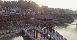 Fenghuang Ancient Town at Sunset stock video