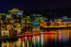Fenghuang ancient town in twilight time,famous tourist attractio Royalty Free Stock Photos