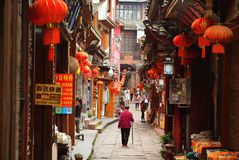 Fenghuang, China - May 15, 2017: People walking around street in the Phoenix Fenghuang City Stock Photography