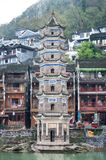 Wanming Pagoda standing next to the Tuojiang River, Fenghuang An. FENGHUANG, CHINA - NOV 11, 2014 - Wanming Pagoda standing next to the Tuojiang River, Fenghuang stock photography