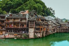 Fenghuang ancient town. Fenghuang County simplified Chinese: 凤凰县; traditional Chinese: 鳳凰縣; pinyin: Fènghuáng Xiàn stock photo