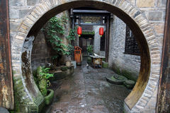 Fenghuang hallway with round entrance Stock Photo