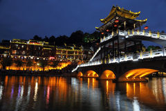 Fenghuang by night. Fenghuang ancient city view by night Royalty Free Stock Image