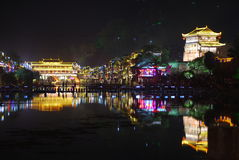 FengHuang (Phoenix) ancient town. Night scene of FengHuang (Phoenix) ancient town in Hunan Province, China Stock Image