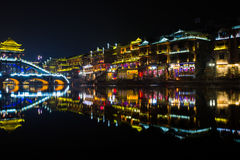 Fenghuang (Phoenix) the ancient town at night time. Hunan province, China Royalty Free Stock Photography