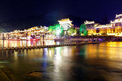 Night view Fenghuang, Hunan province, China. Fenghuang-Phoenix County at night, lighting the colorful, like a dream and magic. Fenghuang, located in the Stock Photography