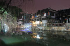 Fengjing Town at Night at autumn Royalty Free Stock Photography