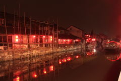 Fengjing Town at Night at autumn Royalty Free Stock Photos
