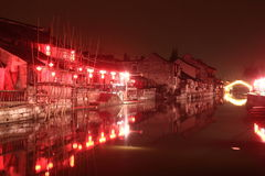 Fengjing Town at Night at autumn Royalty Free Stock Photo