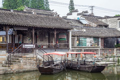 Fengjing Zhujiajiao, China - circa September 2015: Bridges, canals of Fengjing Zhujiajiao ancient water town stock photo