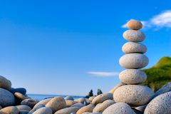 Fengshui stones. Round stones for meditation laying on seacoast Royalty Free Stock Photo