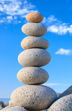 Fengshui stones. Round stones for meditation laying on seacoast Stock Photography