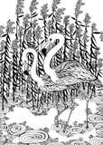 Fenicotteri in acqua royalty illustrazione gratis