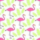 Fenicotteri svegli di rosa del fumetto e foglie tropicali verdi isolati su fondo bianco Il modello senza cuciture di vettore può  Fotografie Stock