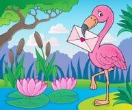 Fenicottero con il tema 2 della lettera di amore royalty illustrazione gratis