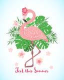 Fenicottero rosa sveglio su un fondo tropicale floreale royalty illustrazione gratis