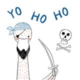 Fenicottero sveglio del pirata illustrazione vettoriale