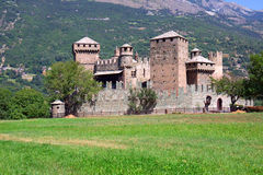 Fenis castle - Aosta - Italy. 13th century fairytale-like castle in Aosta Valley in Northern Italy. This castle was build by Challant Family to protect the trade Royalty Free Stock Images