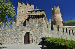 Medieval castle walls, castello Fenis Aosta valley, Italy Royalty Free Stock Images