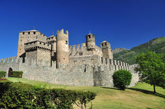 Medieval castle Fenis, Aosta valley, Italy. Defensive walls Stock Image