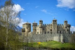 The Fenis Castle in Aosta Valley, Italy Stock Photography