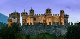 Fenis Castle, Aosta Valley. At moonlight Stock Images