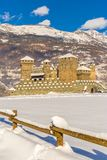 Medieval Fenis castle in Aosta valley, Italy. Stock Photo