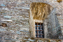 FENIS,ITALIA-SEPTEMBER .Facade of the castle of Fenis in Aosta. The windows of the castle and its railings Stock Photo