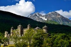 Fenis kasztel, Włoski średniowieczny kasztel Zdjęcie Stock