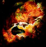Fenix in fire  on an abstract background, color with spot struc. Tures Royalty Free Stock Images