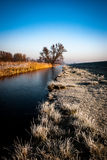 Fenland at dawn in the frost Royalty Free Stock Photos