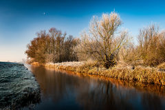 Fenland at dawn in the frost Royalty Free Stock Photo