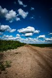 Fenland drove track beneath a summer sky. Sweeping vista of a fenland access track beneath a blue sky with cumulus clouds stock images