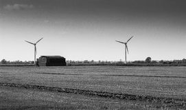 Fenland landscape with wind turbines Royalty Free Stock Photography
