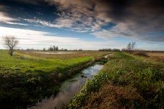 Fenland-Landschaft und drastischer Himmel Stockbild