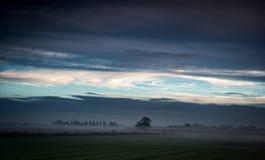 Fenland mit Nebel und Wolken Lizenzfreies Stockfoto